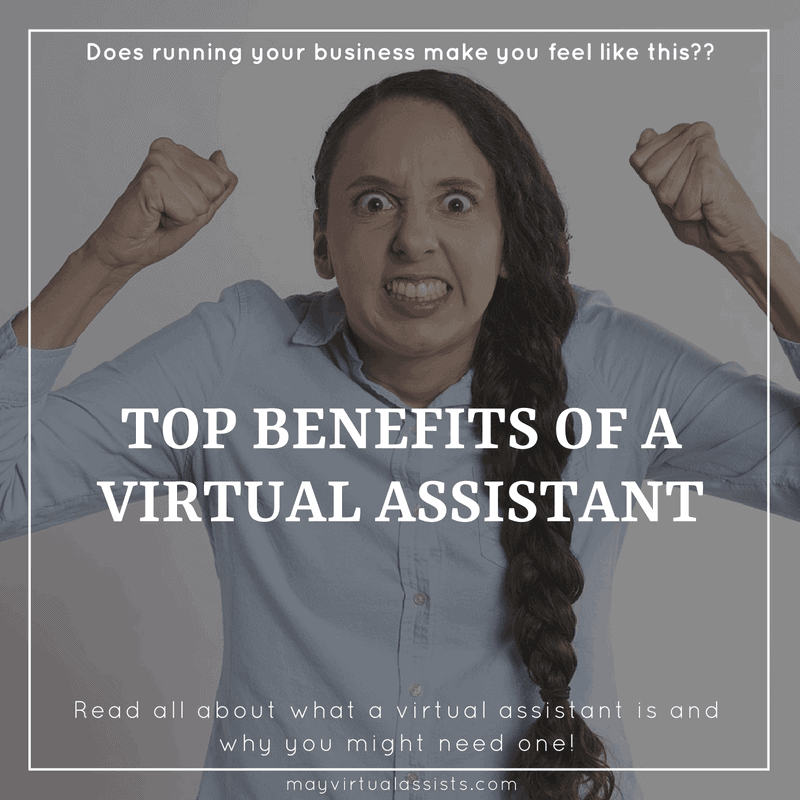 upset young woman with long braid and an overlay with top benefits of a virtual assistant