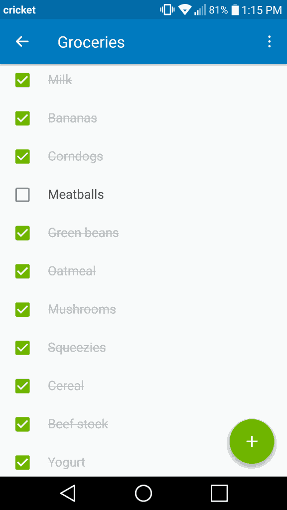 Screenshot of Trello Checklist of Groceries with all purchased items checked off.