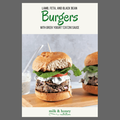 burger sliders with grey background and recipe name and Milk& Honey Nutrition logo