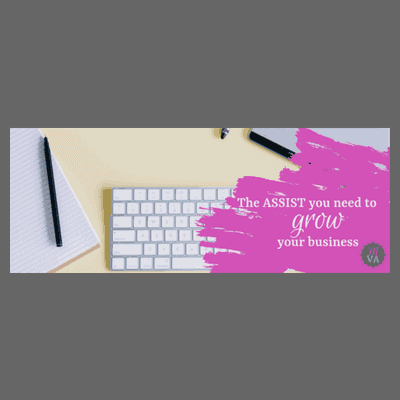keyboard, notebook, and pen with pink overlay with May Virtual Assists tagline and logo