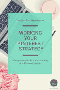 Open laptop with coffee cup and flowers next to it and overlay with Working Your Pinterest Strategy and MVA logo