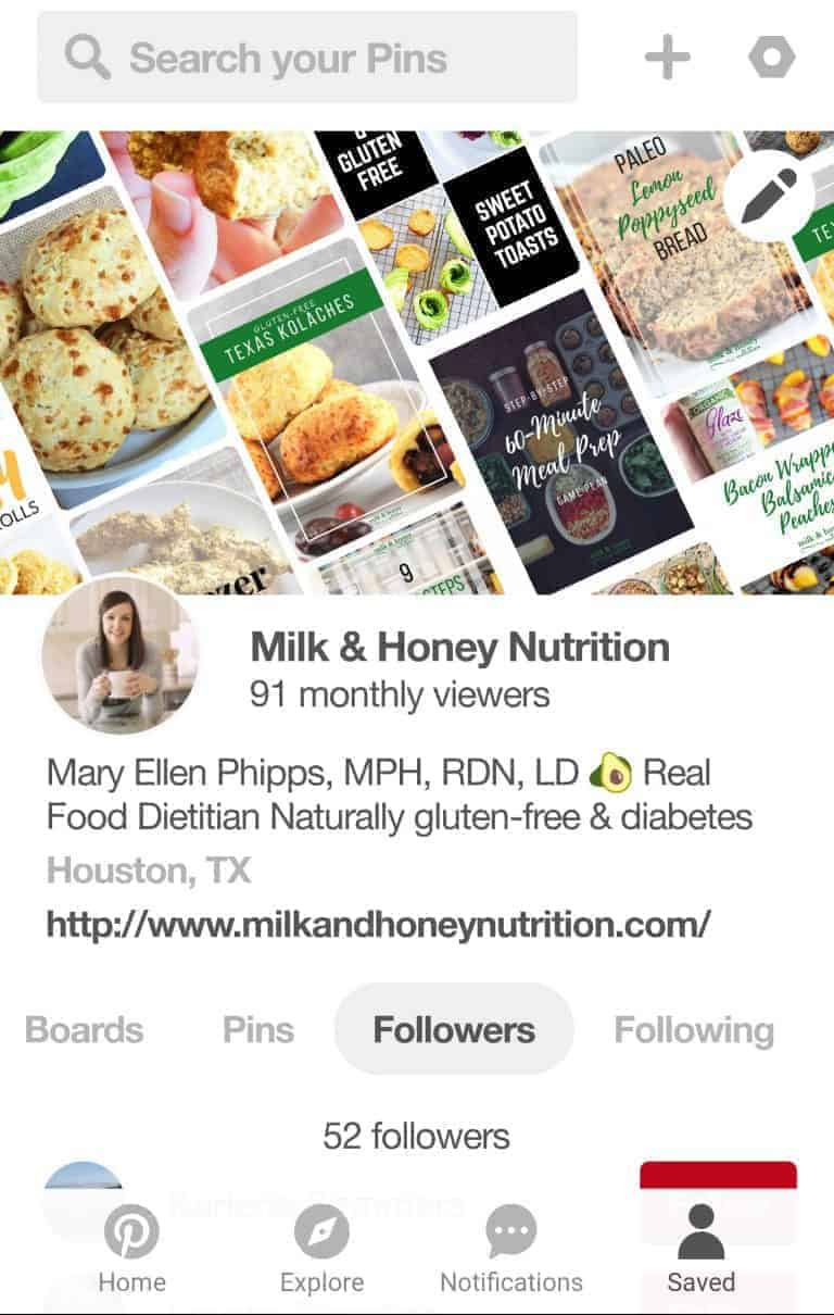 Screenshot of Milk & Honey Nutrition Pinterest Profile