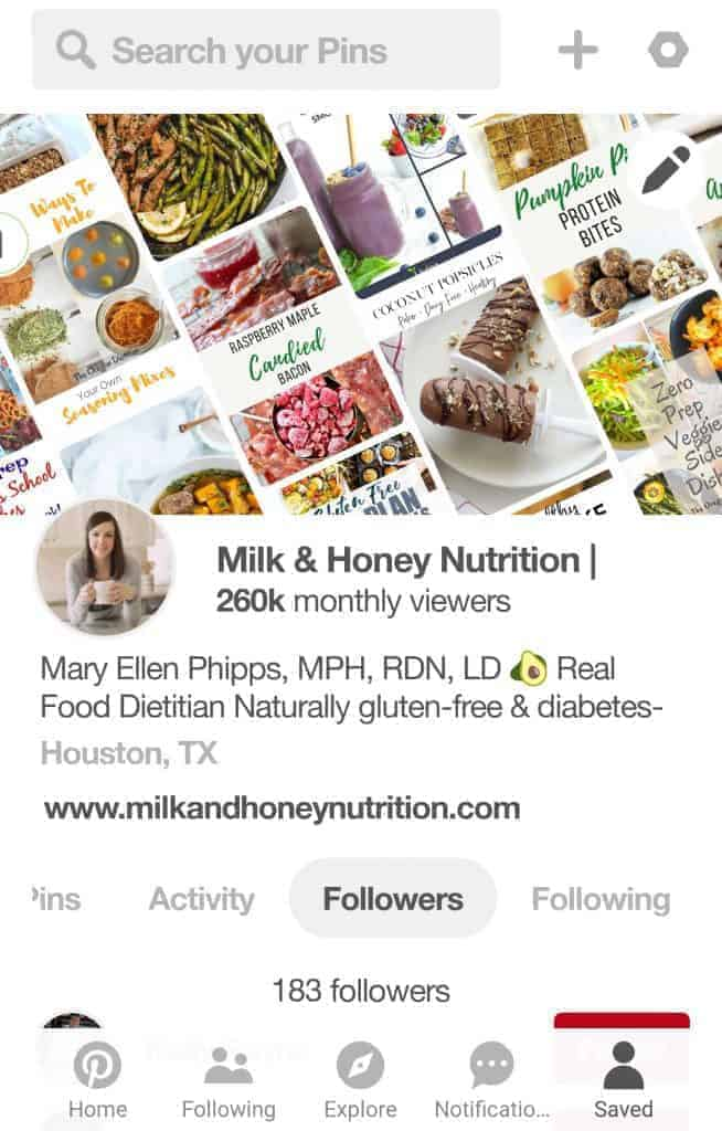 screenshot of Milk & Honey Pinterest profile