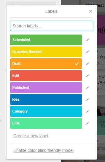 A list of the assorted colors for Trello labels and what each one means in the blogging process