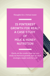 open laptop on white table with Is Pinterest Growth for Real? on pink overlay