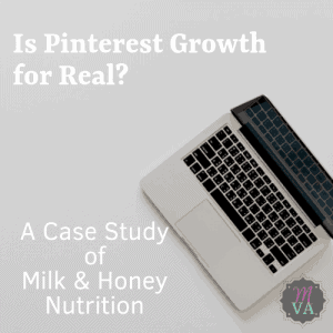 An open laptop with Is Pinterest Growth for Real title and May Virtual Assists logo