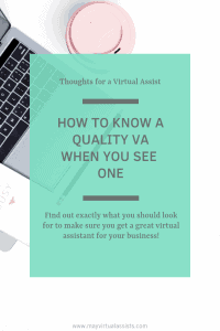 open laptop and coffee cup with aqua overlay and how to know a quality VA when you see one