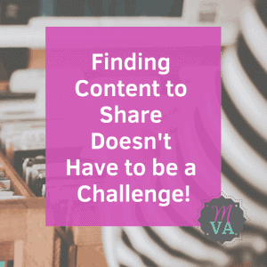 woman searching files with pink overlay and finding content doesn't have to be a challenge and May Virtual Assists logo