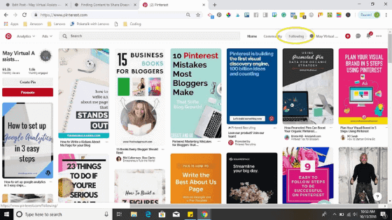 Pinterest feed with Following button circled in yellow to show readers where it is.