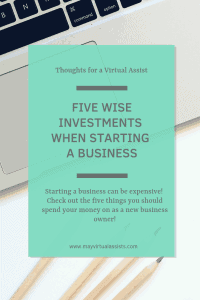 Flatlay with laptop and colored pencils with aqua overlay and Five Wise Investments when starting a business and May Virtual Assists website