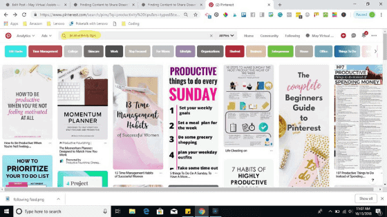 Pinterest search feed with Productivity tips in search box.