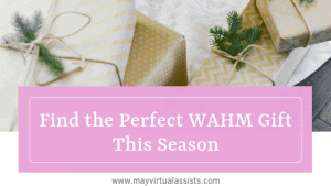 gold wrapped Christmas gifts with a lavender overlay and Find the Perfect WAHM Gift This Season and mayvirtualassists.com