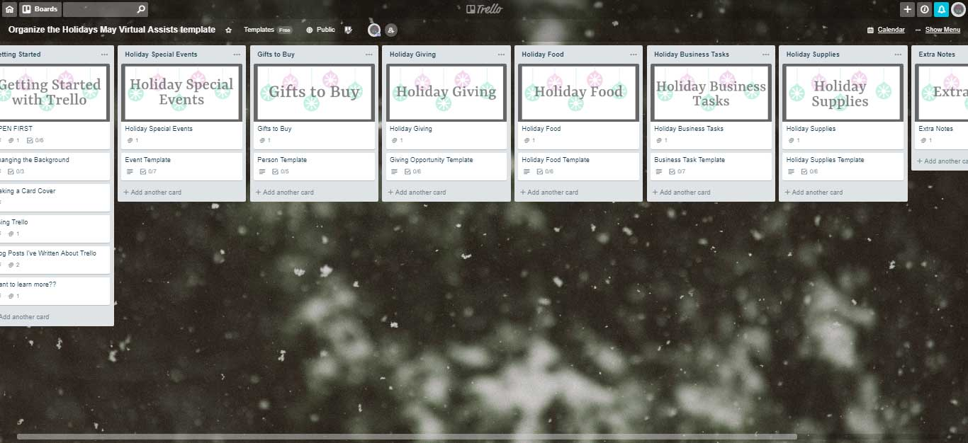 A Trello board with lists to control the holiday chaos and a close-up of a snowy evergreen tree in the background