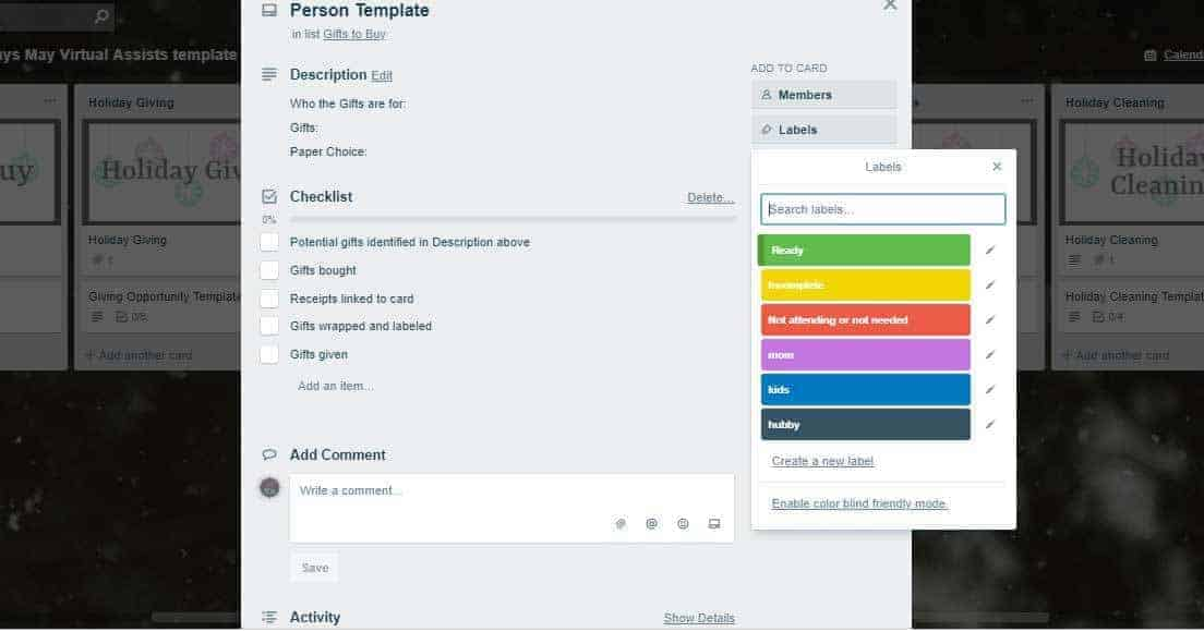 Trello card template for the Organize the Holidays Trello board with the label colors and what they mean