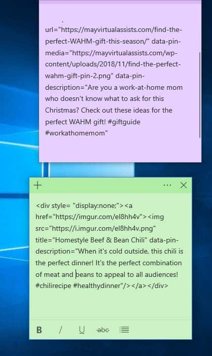 desktop with sticky notes with html code