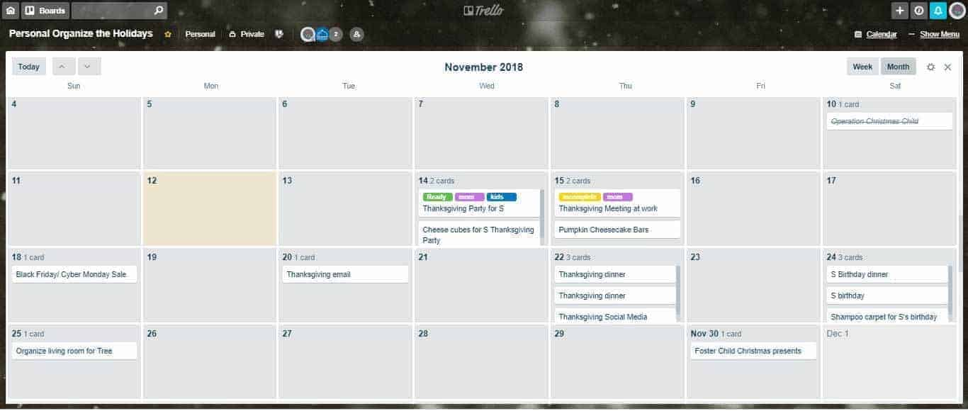 digital calendar with events from Trello displayed