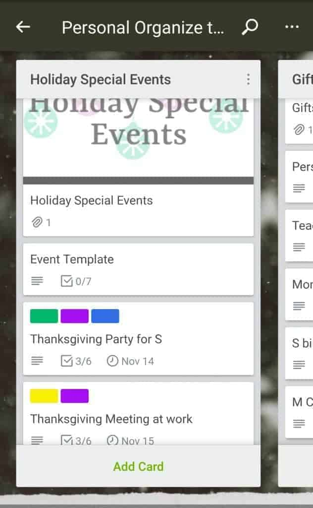 Holiday Special events list on Trello board