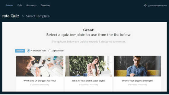 Interact Quiz Builder menu to choose quiz template