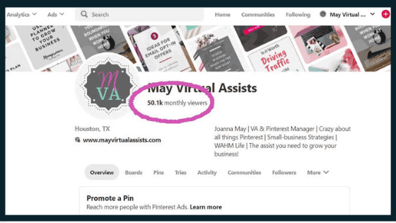Pinterest profile from May Virtual Assists with a dark pink circle around average monthly viewers