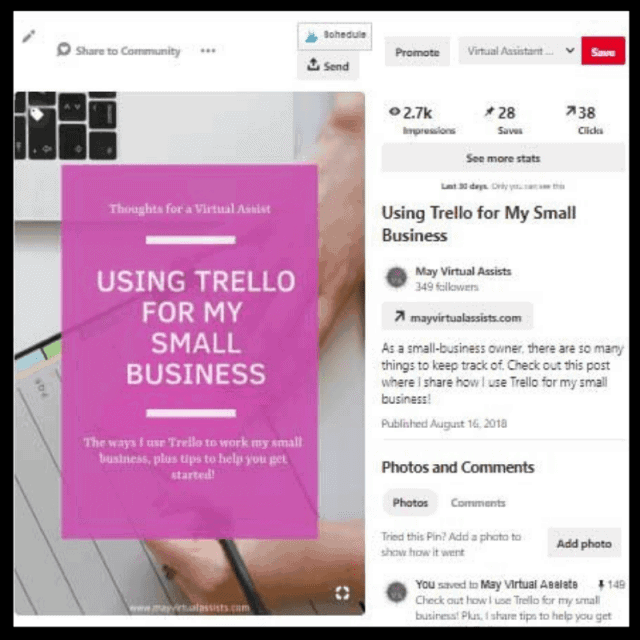 May virtual assists pin with numbers for Pinterest analytics