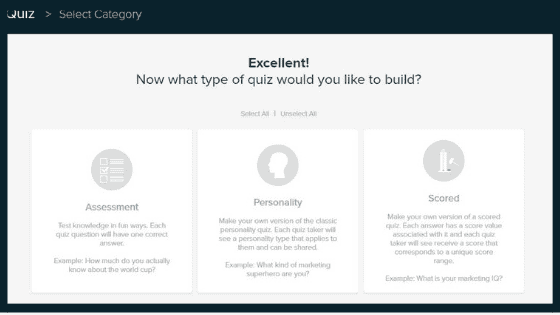 Interact Quiz Builder dashboard with Assessment, Personality, and Scored quiz buttons