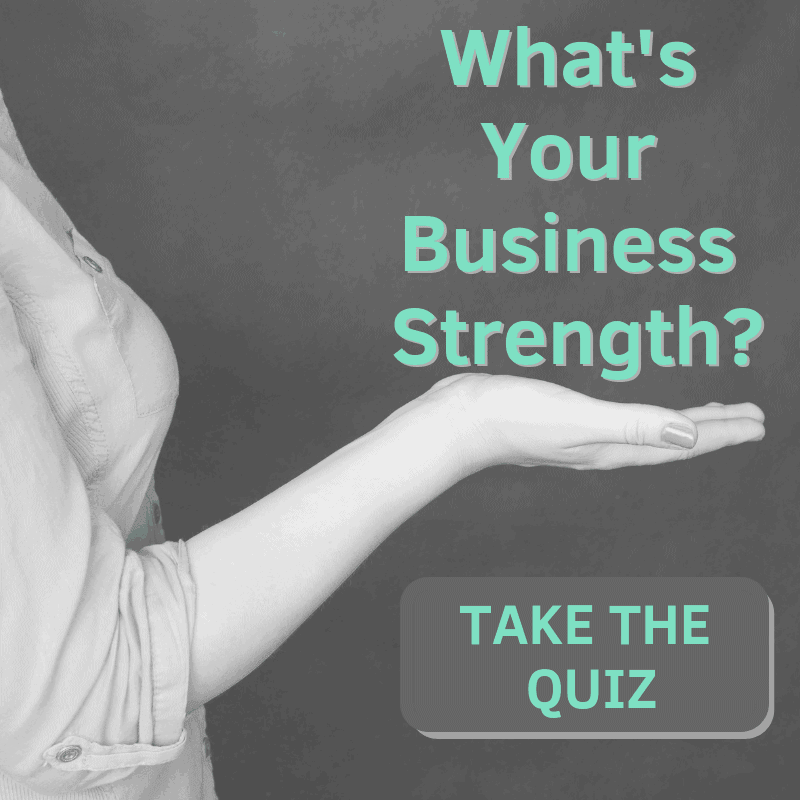 woman holding hand out with What's your business strength and take the quiz button