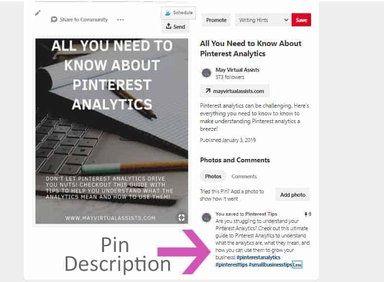 A Pinterest pin with meta-description and pin description and an arrow pointing to pin description from May Virtual Assists