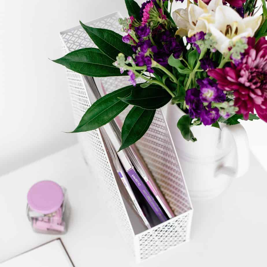 flowers and purple office supplies