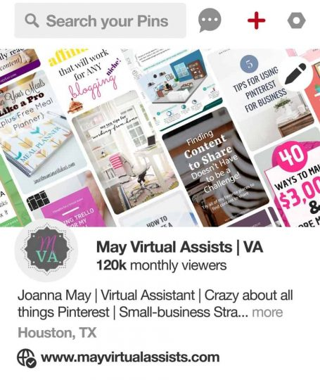 Pinterest profile for May Virtual Assists